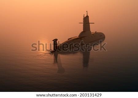 Submarine at sea at sunset. - stock photo