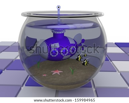 Submarine - 3D Illustration - Took a wrong turn. - stock photo