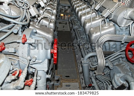 submarine diesel engines close up detail - stock photo