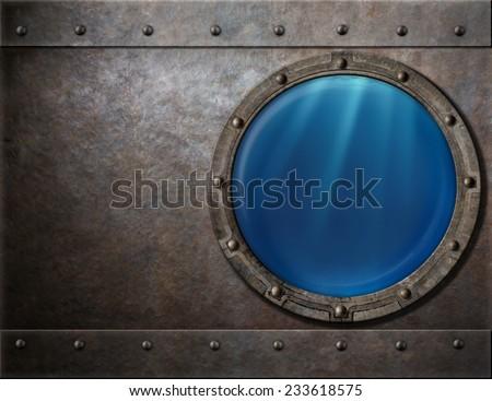 submarine or battleship porthole steam punk metal background - stock photo