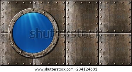 submarine porthole steam punk metal background - stock photo