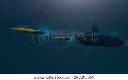 Submarine Shooting Pencil Missiles - stock photo