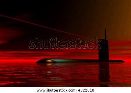 Submarine waiting for orders - stock photo