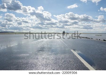 submerged road - stock photo