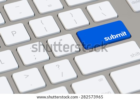 Submit your data online with blue button on a computer keyboard (3d Rendering)
