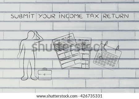 submit your income tax return: stressed business man and tax return forms to fill out with calendar - stock photo