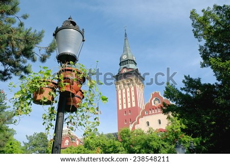 Subotica center is dominated by City Hall, Serbia - stock photo