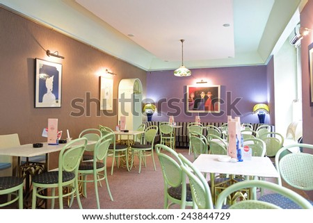 SUBOTICA, SERBIA - AUGUST 06: Cafe Ravel's Art Nouveau interior of tea room in Subotica that evokes the belle epoque. Shot in 2014 - stock photo