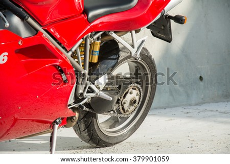 Subotica, Serbia: February 20th, 2016. Closeup of beautiful red Ducati 996s motorbike, photographed outdoor on a nice sunny day. - stock photo
