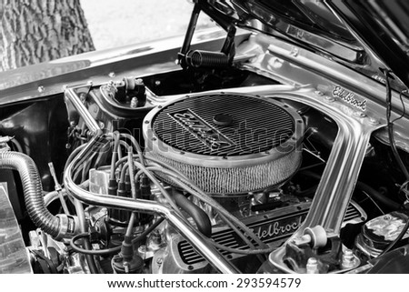 Subotica,Serbia -July 05,2015:Mustang 289 edelbrock on Annual oldtimer car show Subotica 2015. Various vintage cars and motorcycles.In organization of Oldtimer Club.Selective focus.Black and white. - stock photo