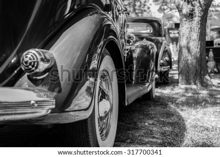 Subotica,Serbia -July 05,2015: Old Chrysler vintage car on Public Annual oldtimer car show Subotica 2015.Various vintage cars and motorcycles.In organization of Oldtimer Club Subotica.Black and white. - stock photo