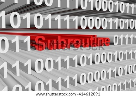 subroutine in a binary code 3D illustration