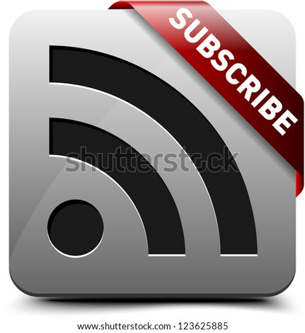 Subscribe via RSS button - stock photo