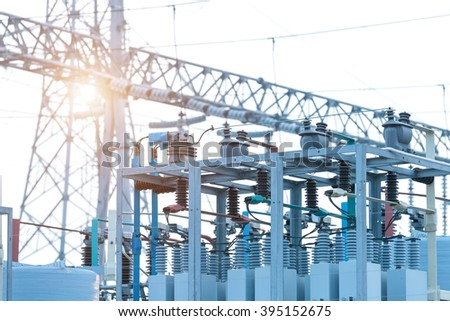 Substation equipment and lines and pylons - stock photo