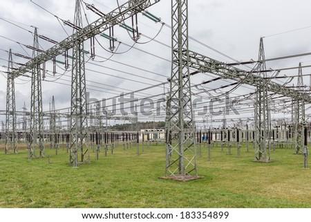 Substation from a utility company - stock photo