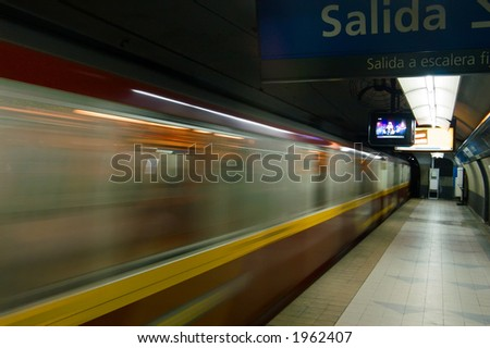 subte - Metro is arriving in buenos aires subway station - stock photo