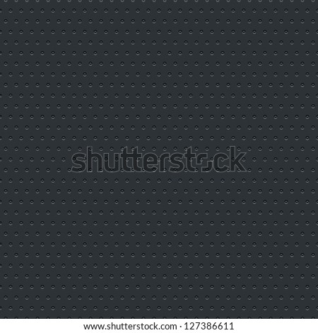 Subtle pattern seamless texture perforated circular hole black metal tile surface dark gray background. Contemporary swatch modern style. This image is a bitmap copy my vector illustration - stock photo