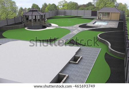 Suburb landscaping aerial perspective, 3d rendering