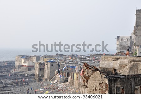 Suburb of Mumbai, India - stock photo
