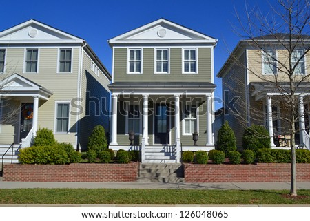 Suburban American New England Style Dream Home Neighborhood - stock photo