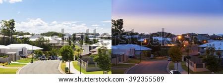 Suburban australian street day and night - stock photo