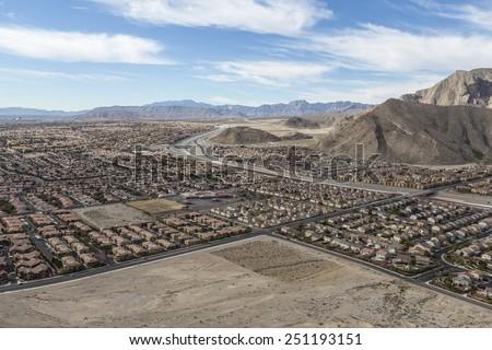 Suburban desert sprawl in the Las Vegas suburb of Summerlin.   - stock photo