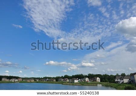 Suburban Executive Homes on Lake, real estate, copy space - stock photo