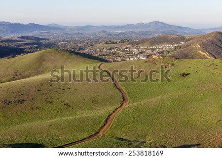 Suburban hiking trails near Los Angeles in Thousand Oaks, California. - stock photo