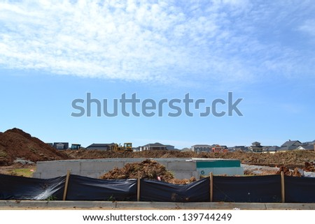 Suburban Home Foundation Under Construction - stock photo