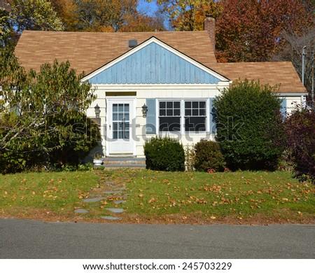 Suburban home sunny autumn fall day residential neighborhood USA - stock photo