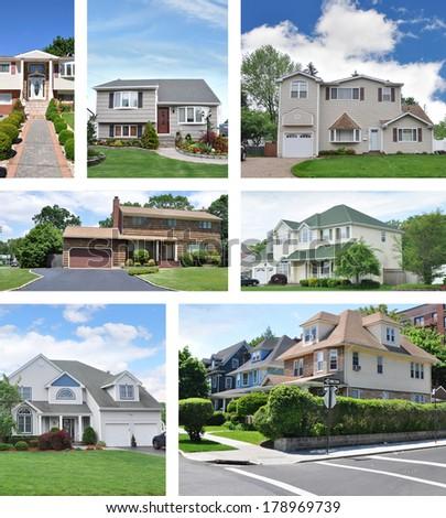 Suburban Homes Collage - stock photo