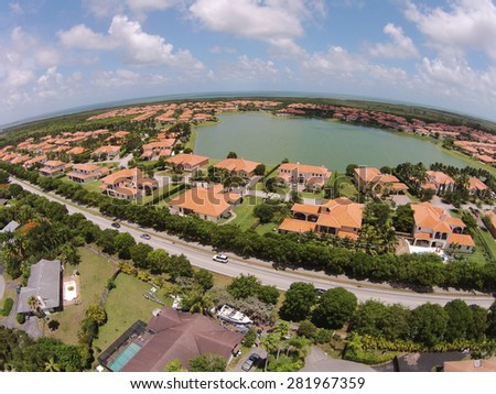 Suburban homes in Florida seen from above - stock photo