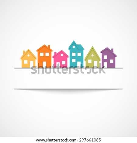 Suburban homes with banner - stock photo