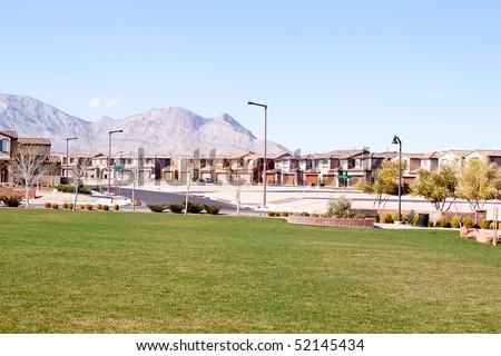 Suburban houses in a quiet southwestern neighborhood - stock photo