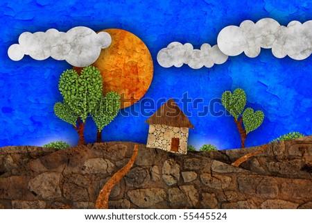 Suburban  landscape, illustration - stock photo