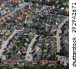 suburban neighborhood from the air - stock photo