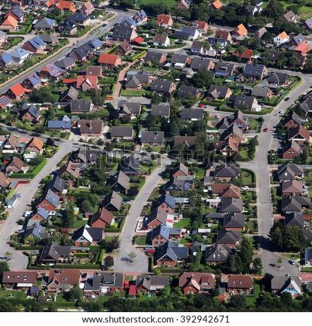 suburban neighborhood from the air - stock photo