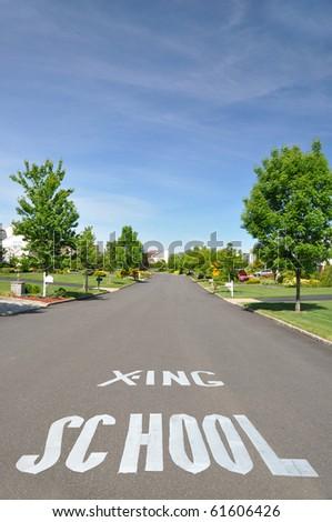 Suburban Neighborhood School Crossing painted on the Street - stock photo