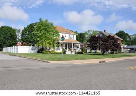 Suburban Neighborhood Street Corner - stock photo
