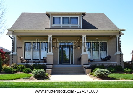 Suburban New England Style American Dream Home - stock photo