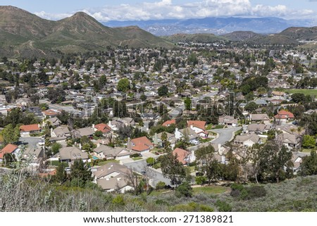 Suburban Newbury Park homes and hills near Los Angeles in Southern California. - stock photo