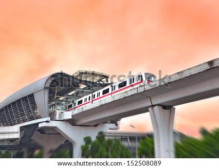 Suburban railway viaduct  - stock photo