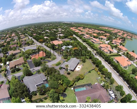 Suburban real estate in Miami, Florida seen from above - stock photo