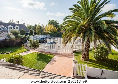Suburban residential street - stock photo