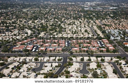 Suburban rooftops of the east valley - stock photo