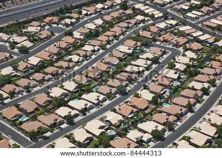 Suburban Southwest Community from above - stock photo