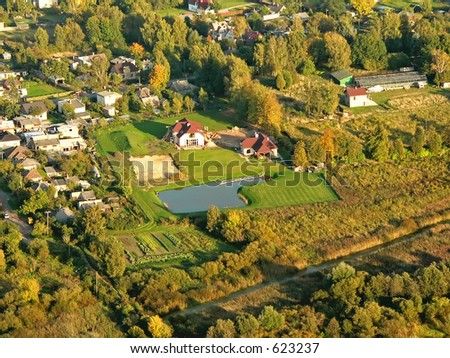 Suburban town in Latvia. New buildings, pool and bathouse - stock photo