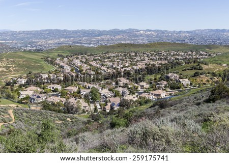 Suburban valley housing tracts near Los Angeles in Ventura County, California.   - stock photo