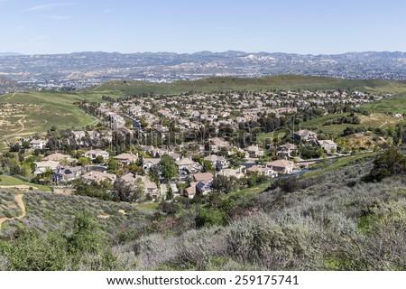 Suburban valley housing tracts near Los Angeles in Ventura County, California.   - stock photo