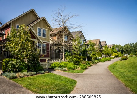 Suburbia in Fort Langley, a historic village in the Fraser Valley of British Columbia - stock photo